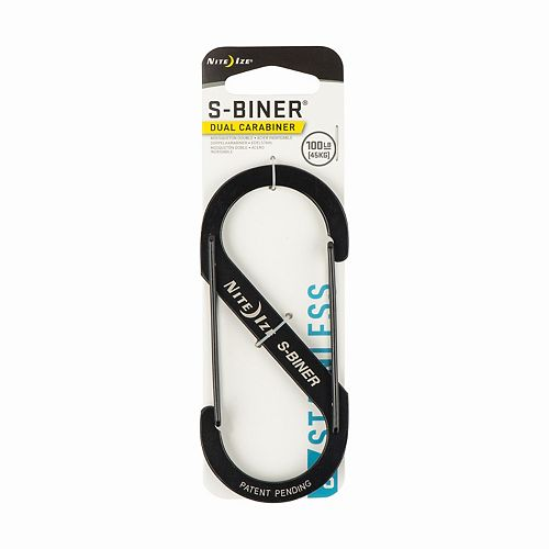 Nite Ize Size-5 S-Biner Dual Carabiner, Stainless Steel, Black