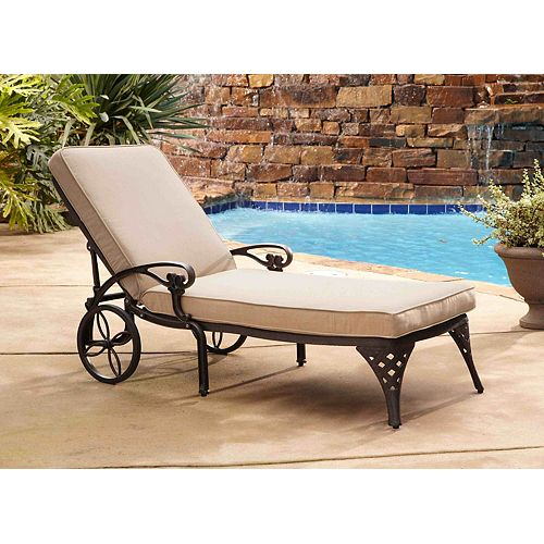 Biscayne Bronze Chaise Lounge Chair Taupe Cushion