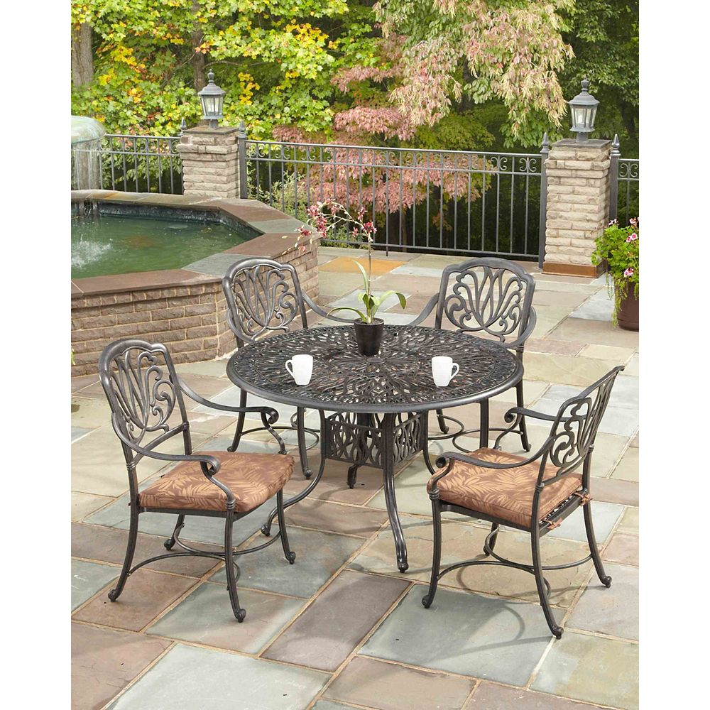 Floral Blossom 5-Piece Patio Dining Set with 42-inch Round Table and Arm Chairs in Charcoal