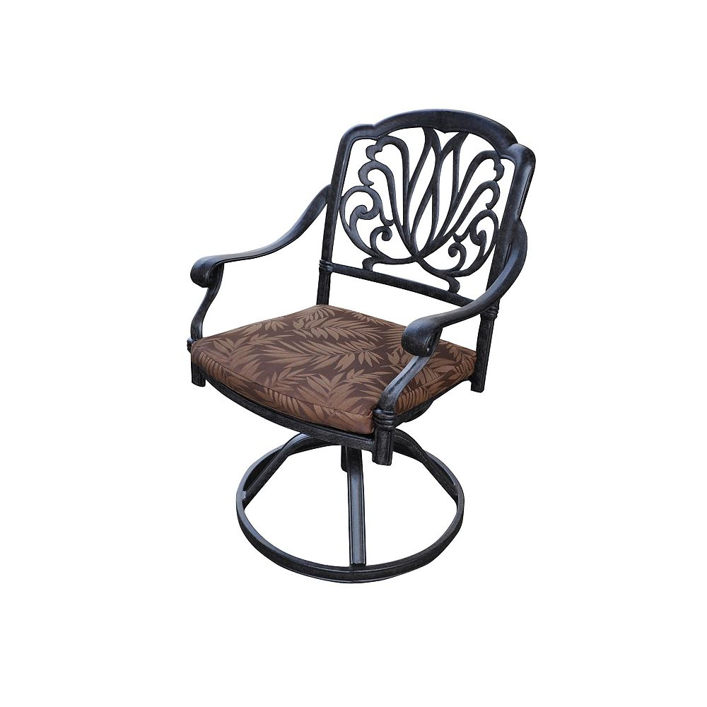 Floral Blossom Patio Swivel Chair with Cushion