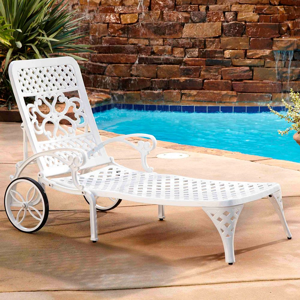 Home Styles Biscayne Chaise Lounge Chair in White