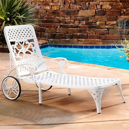 Biscayne Chaise Lounge Chair in White