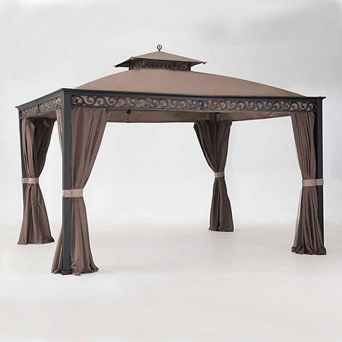 Whelan 10 ft. x 12 ft. Gazebo with Mosquito Netting in Black and Brown