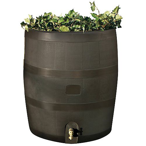Baril rond avec jardinière-Brun