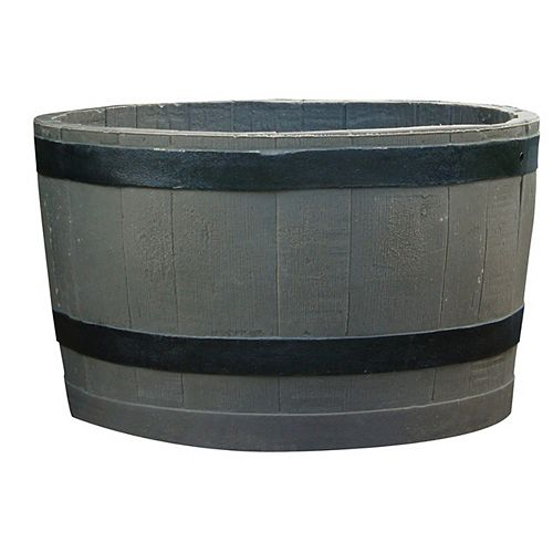 Planter Barrel with Black Stripes