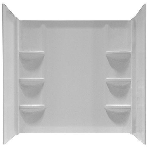 Paroi de douche Cadet en polystyrène pour baignoire de 60 pouces x 30 pouces avec 6 étagères en blanc