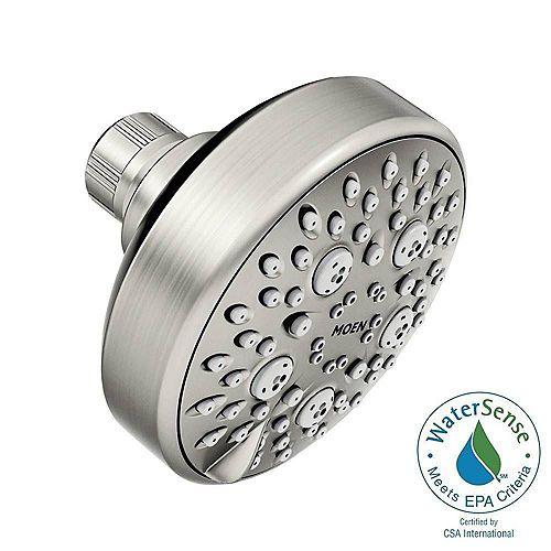 MOEN Avira 4-Spray 4.1-inch Single Wall Mount Fixed Shower Head in Spot Resist Brushed Nickel