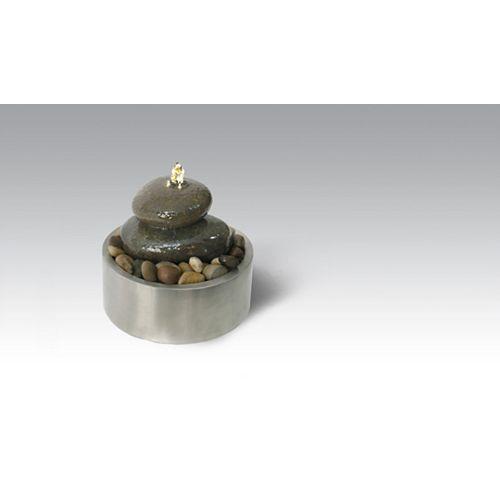 Fontaine de relaxation illuminée avec des pierres de rivière authentiques et avec support dacier inoxydable dhaute qualité