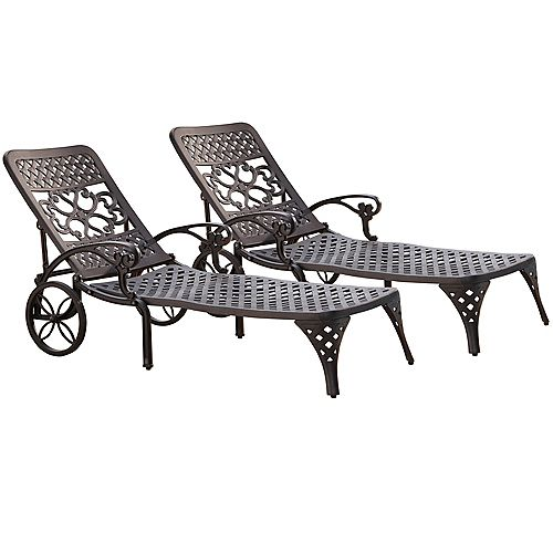 Biscayne Black Chaise Lounge Chairs (2)