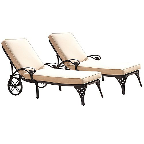 Biscayne Black Chaise Lounge Chairs (2) Taupe Cushions
