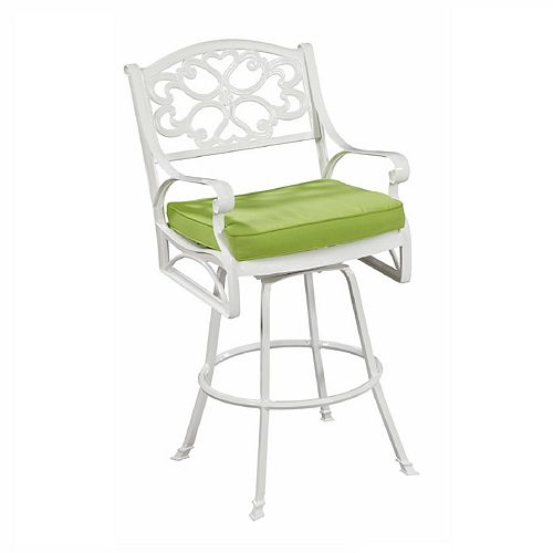Biscayne Bistro Stool with Cushion White Finish
