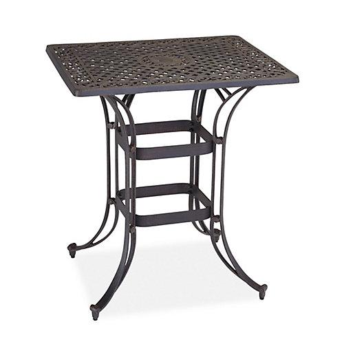 Table Bistro rectangulaire peu encombrante Biscayne au fini bronze