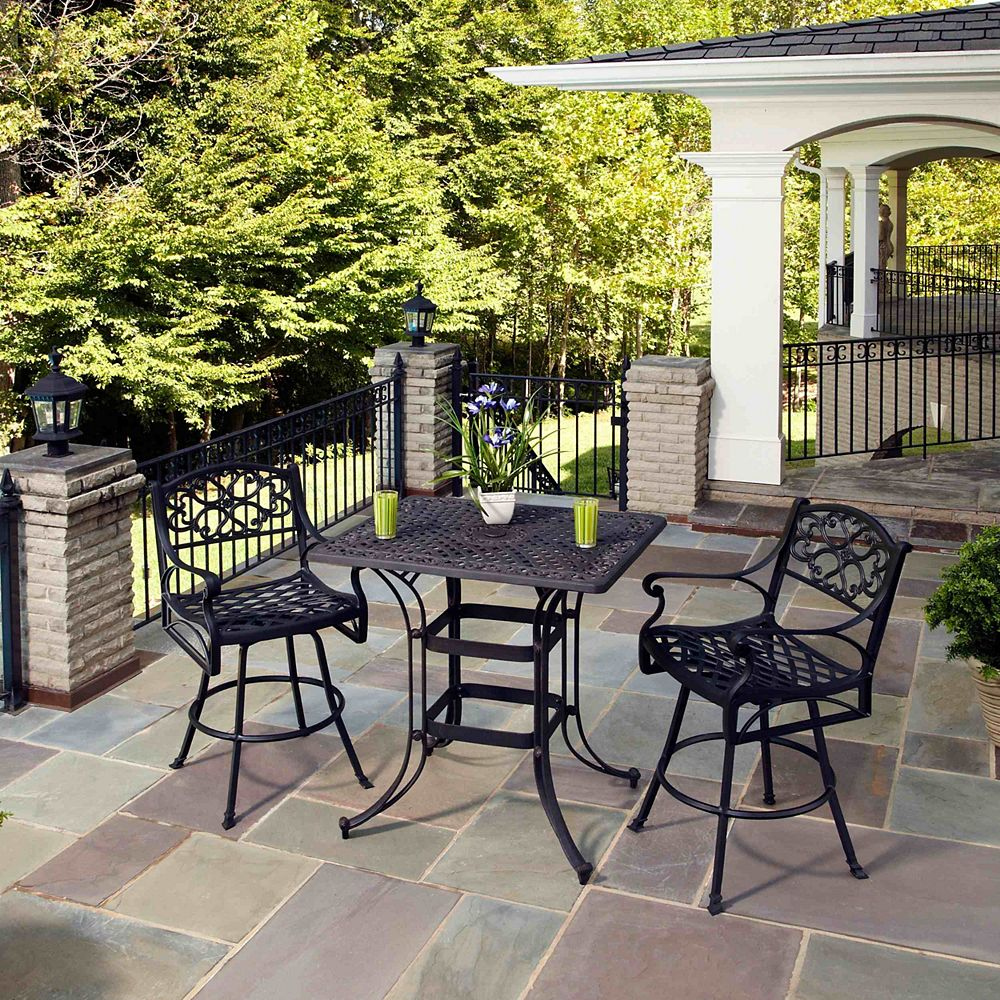 Home Styles Ensemble Bistro rectangulaire de 3 pièces peu encombrant Biscayne