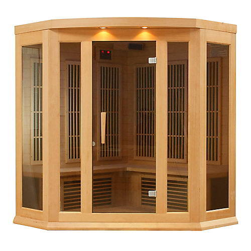 3-Person Corner Carbon Infrared Sauna with Chromotherapy, Lighting and Radio