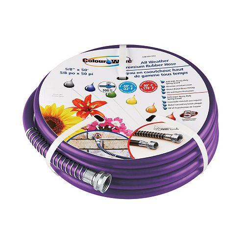 "5/8"" x 50' Premium Rubber Garden Hose - Purple"