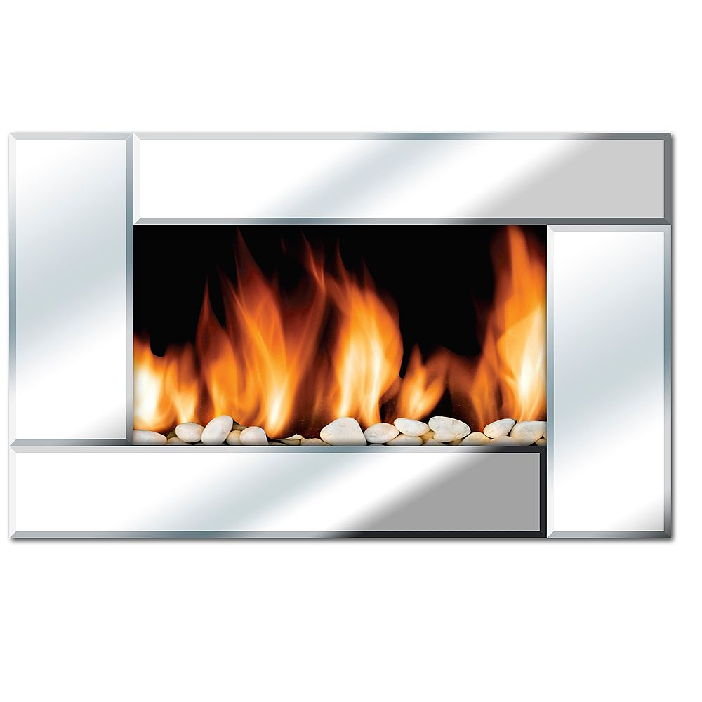 Even Glow Reflections 36-inch Horizontal Wall Mounted Electric Fireplace with Remote Control