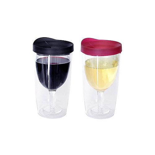 Ensemble de deux verres à vin sans pied, rouge et noir