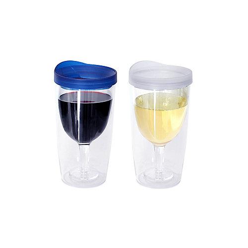 Ensemble de deux verres à vin sans pied, bleu et transparent