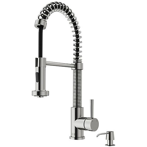 VIGO Edison Single-Handle Pull-Down Sprayer Kitchen Faucet with Soap Dispenser in Stainless Steel