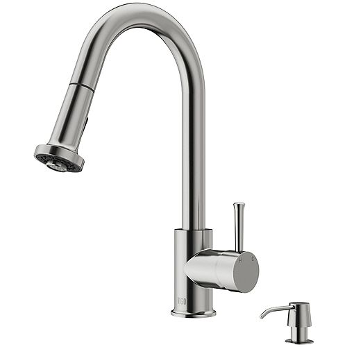 Harrison Single-Handle Pull-Down Sprayer Kitchen Faucet with Soap Dispenser in Stainless Steel