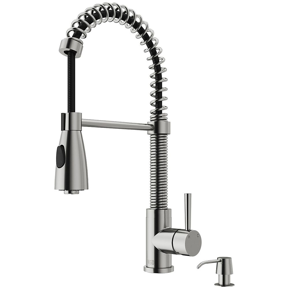 VIGO Brant Single-Handle Pull-Down Sprayer Kitchen Faucet with Soap Dispenser in Stainless Steel