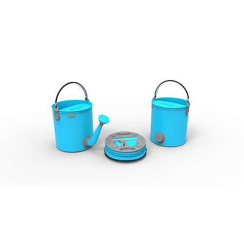 Colpaz Collapsible 2-in-1 Watering Can & Bucket in Aqua Blue