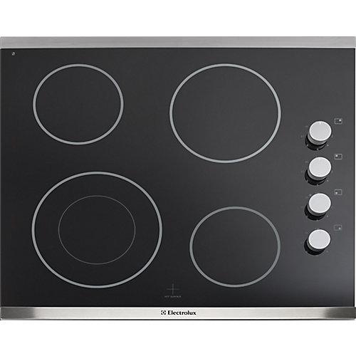 Table de cuisson électrique à surface lisse de 24 pouces avec 4 éléments en acier inoxydable