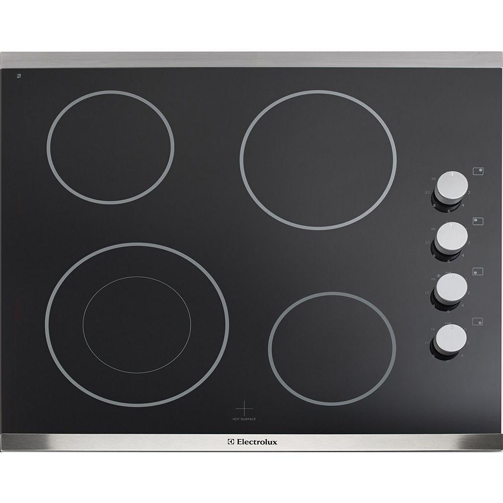 Electrolux Table de cuisson électrique à surface lisse de 24 pouces avec 4 éléments en acier inoxydable