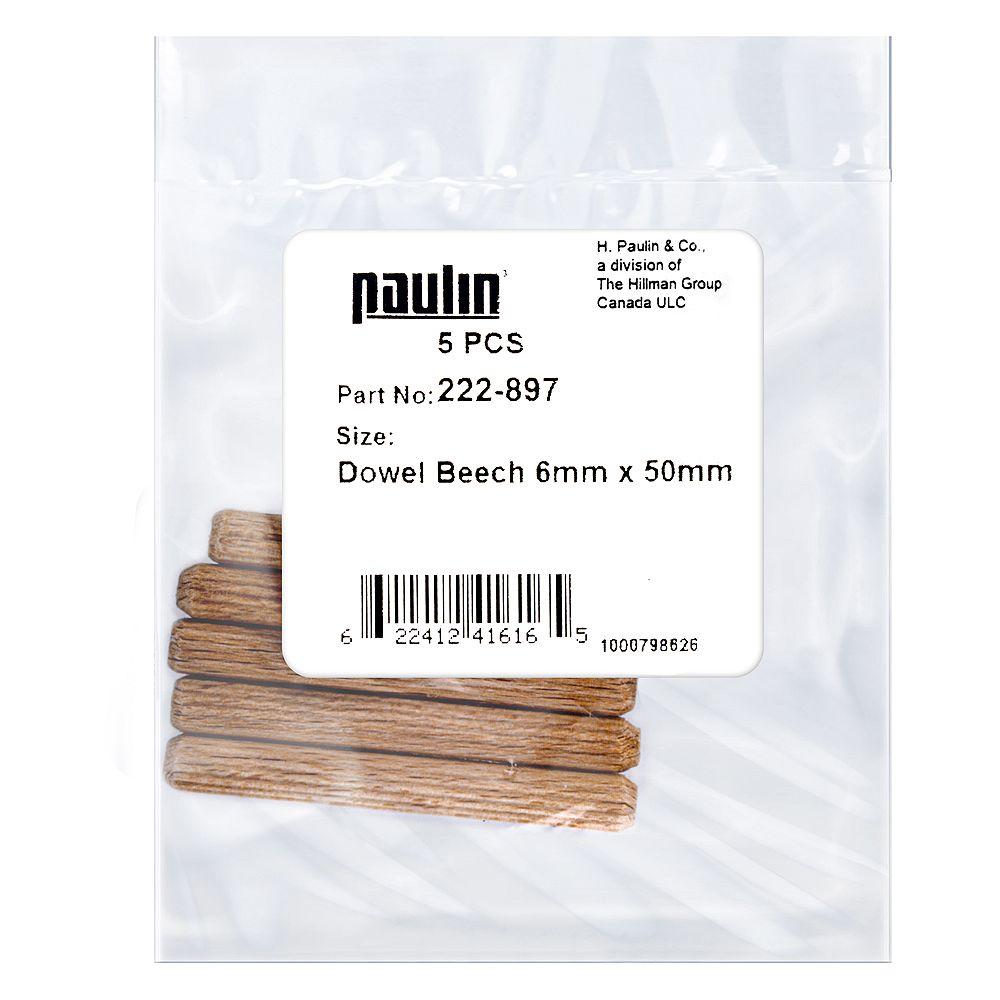 Paulin 6 mm x 50 mm Fluted Beech Wood Dowels Beige - 5 pcs