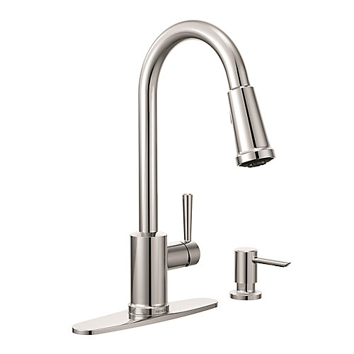 Indi Single-Handle Pulldown Kitchen Faucet with Soap Dispenser in Chrome