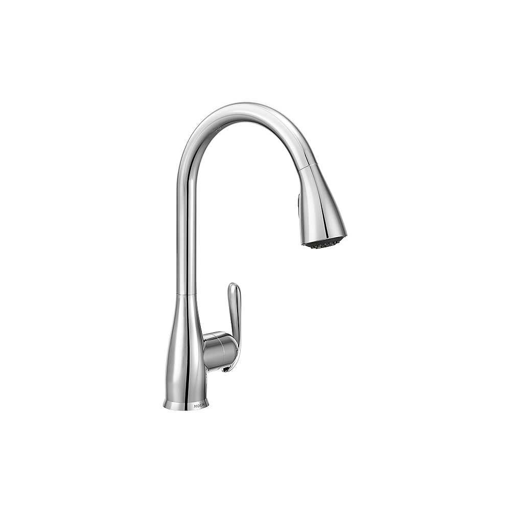 Moen Haysfield Single Handle Pull Down Sprayer Kitchen Faucet With Power Clean Tm In Chro The Home Depot Canada