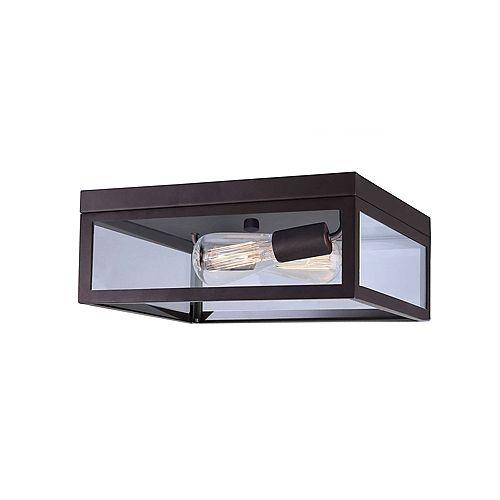 RAE deux lumière bronze huilé plafonnier avec verre clair