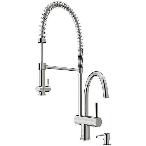 Dresden Single-Handle Pull-Down Sprayer Kitchen Faucet with Soap Dispenser in Stainless Steel