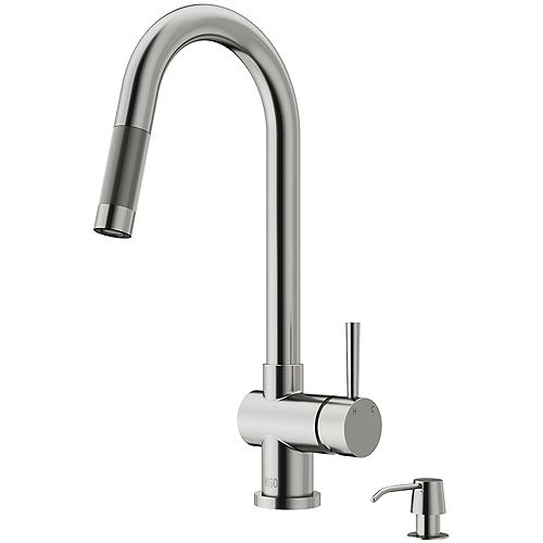 Gramercy Single-Handle Pull-Down Kitchen Faucet with Soap Dispenser in Stainless Steel