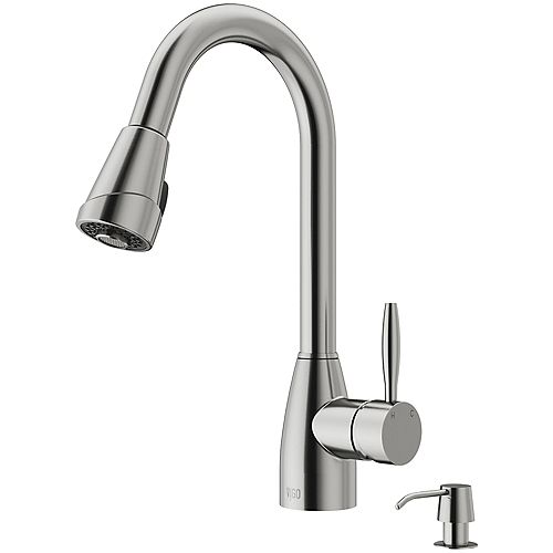 Graham Single-Handle Pull-Down Sprayer Kitchen Faucet with Soap Dispenser in Stainless Steel