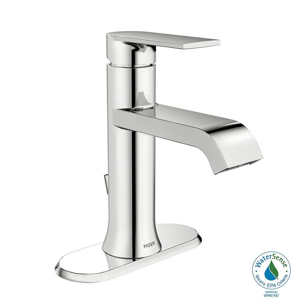 Moen Genta Single Hole Single Handle Bathroom Faucet In Chrome The Home Depot Canada