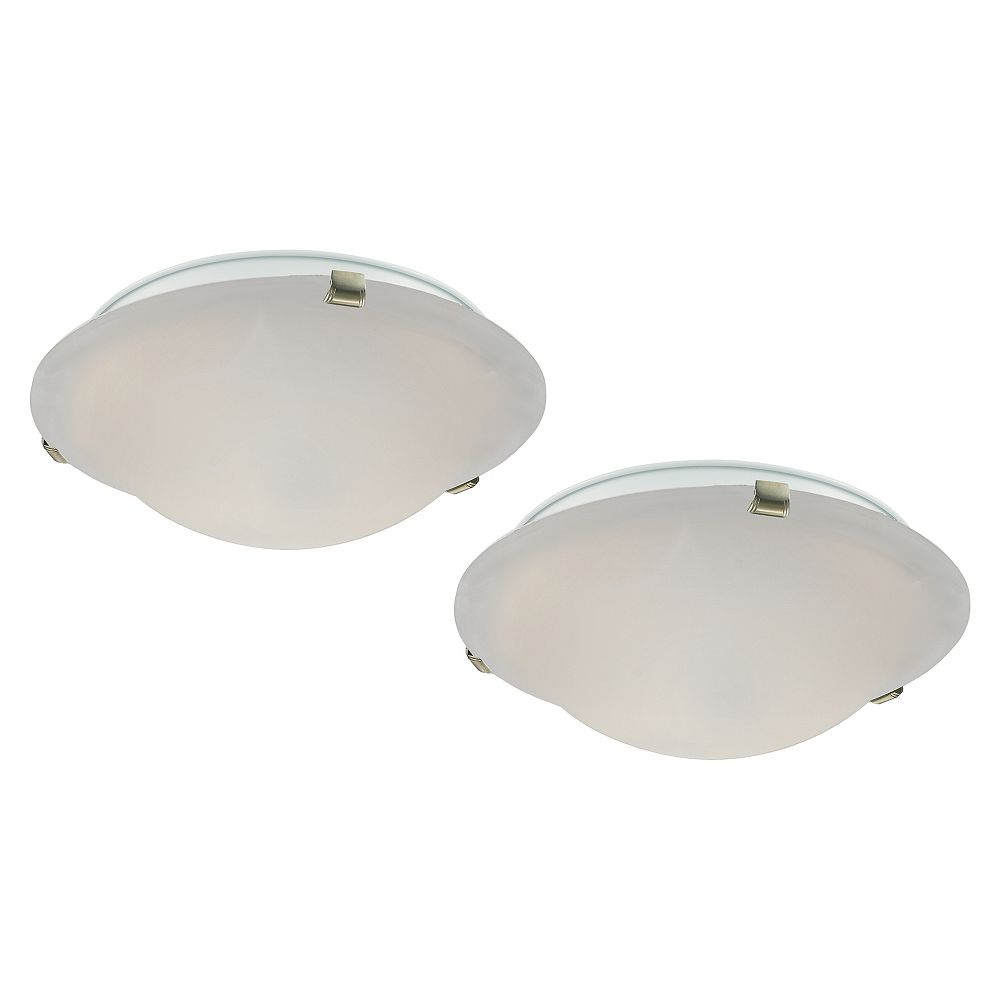 Commercial Electric 16 Inch 3 Light 60w Brushed Nickel Flushmount Ceiling Light With Alaba The Home Depot Canada