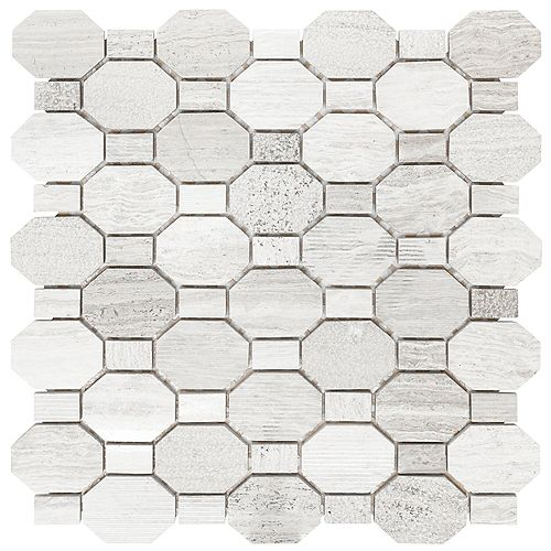 HDG 12-Inch x 12-Inch x .31-Inch Marble Mosaic Wall Tile in Crisp Illusion