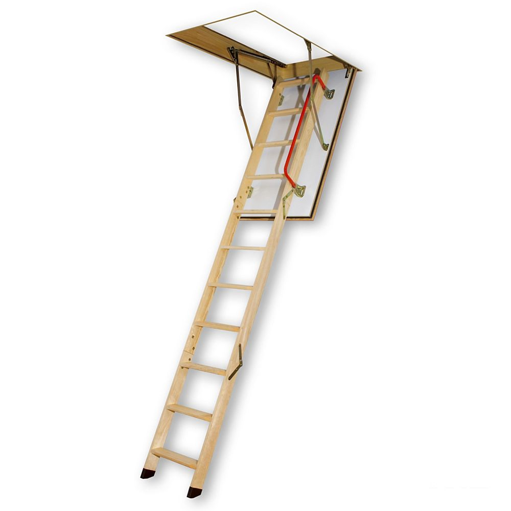 Fakro 47-inch x 25-inch x 8 ft. 11-inch Fire Rated Wood Attic Ladder with 300 lb. Capacity Type IA Rating