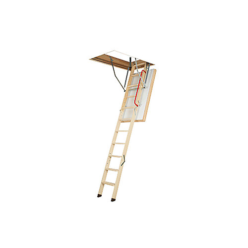 LWT 7 ft. 8-inch - 10 ft. 1-inch, 25-inch x 54-inch Super-Thermo Wooden Attic Ladder with 300 lbs. Load Capacity