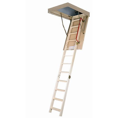 Fakro 10 ft. 1-inch, 54-inch x 30-inch Insulated Wood Attic Ladder with 300 lb. Capacity Type IA Rating