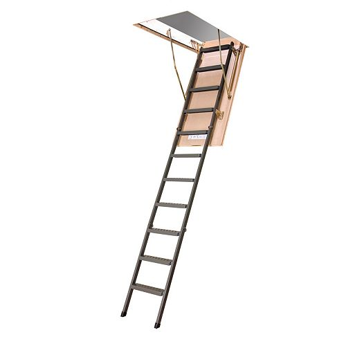 LMS 10 ft., 25-inch x 54-inch Insulated Steel Attic Ladder with 350 lb. Load Capacity Type IA Rating