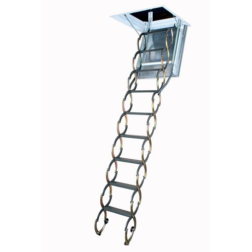 Fakro Attic Ladder (Scissor Fireproof Door insulated) LSF 25x47 300 lbs 9 ft 10 in