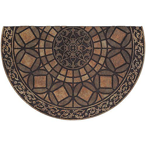Tapis d'extérieur traditionnel en demi-cercle en fer gothique, 23 po x 35 po