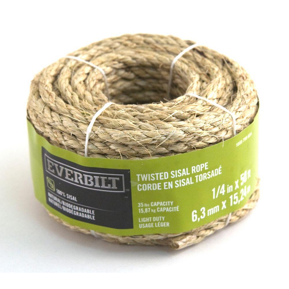 Everbilt 1/4 Po X 50 Pi Sisal Torsadée Naturelle