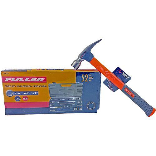 52-Piece Socket Set & 22 oz Wavex Antivibe Ripping Hammer