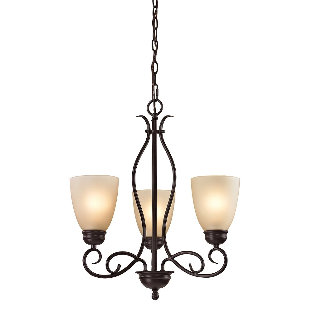 Titan Lighting Chatham 3-Light Oil Rubbed Bronze Chandelier With Light Amber Glass Shades