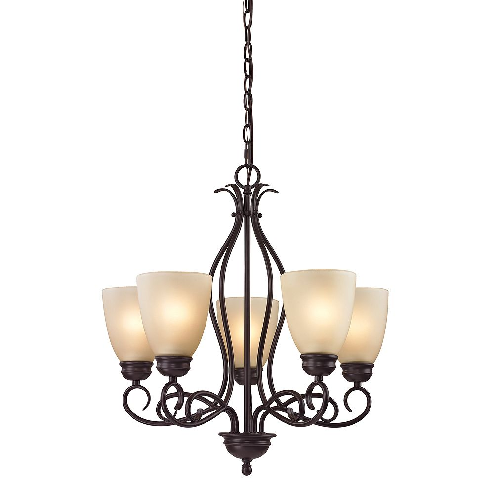 Titan Lighting 5 Light Chandelier In Oil Rubbed Bronze