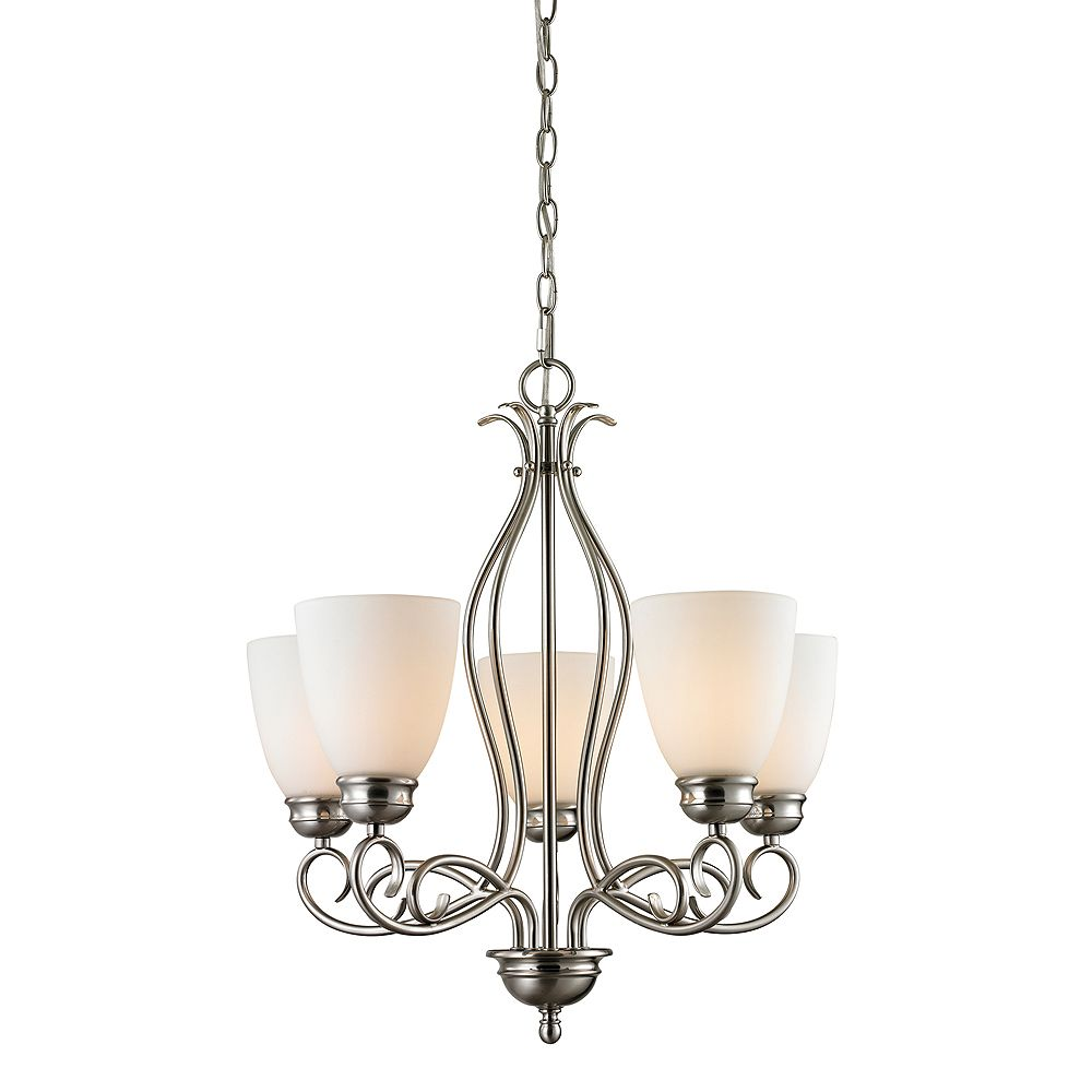 Titan Lighting 5 Light Chandelier In Brushed Nickel