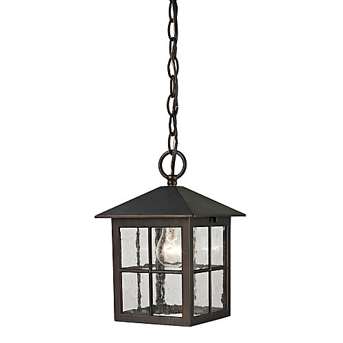 Outdoor Pendant Light Fixture with Seeded Glass in Hazelnut Bronze